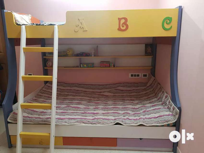 Wooden Bunk Bed With Two Levels Pull Out Drawers And Front Ladder Beds Wardrobes 1615296865