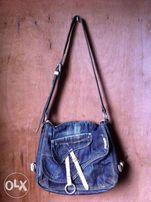 24ec195693 Salad Denim and Leather Messenger Body Bag with Adjustable Strap