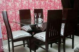 New dining shesham linner six chairs with X style table