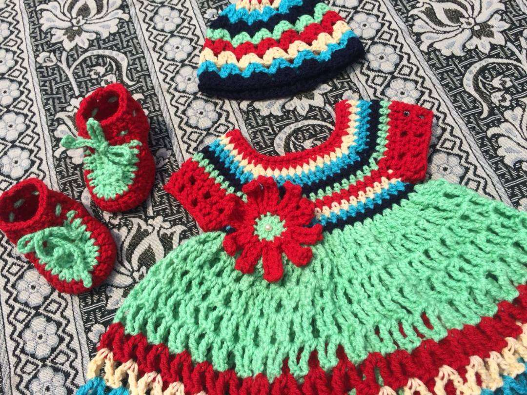 36c865c7ad54 March 4, 2019, 10:22 a.m. Used. multicolor crochet handmade new born baby  frock ...
