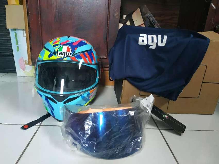 Helm Agv K3 Misano Visor Gt2 Iridium Blue Helm 765549048