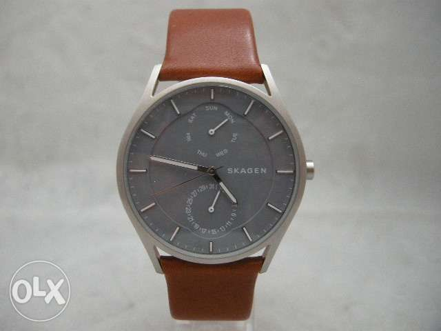 54834f142875e4 Authentic Skagen SKW6264 Holst Grey Mineral Dial Leather Men Watch ...