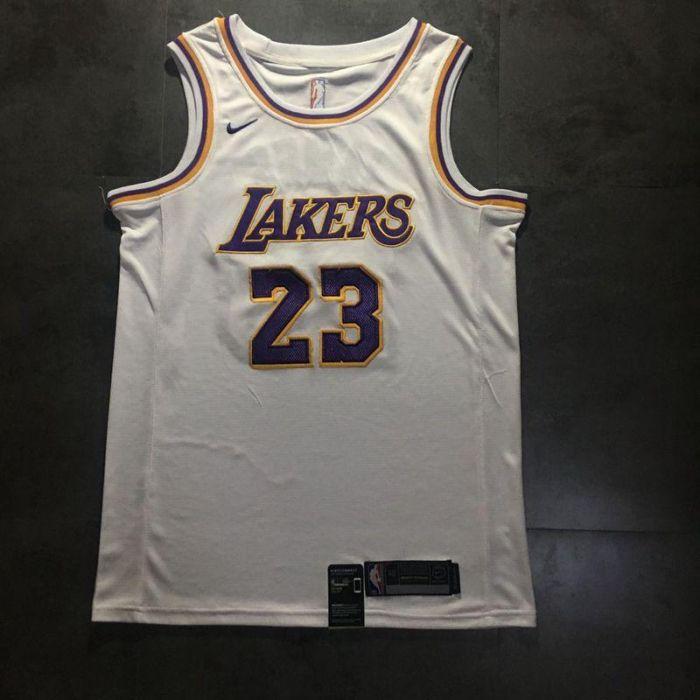 low priced 066f8 9e9c3 White purple LA Lakers LeBron James Nike swingman NBA jersey ...