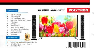 Polytron 50 inch Cinemax LED TV gratis Speaker Tower Garansi 5 Tahun