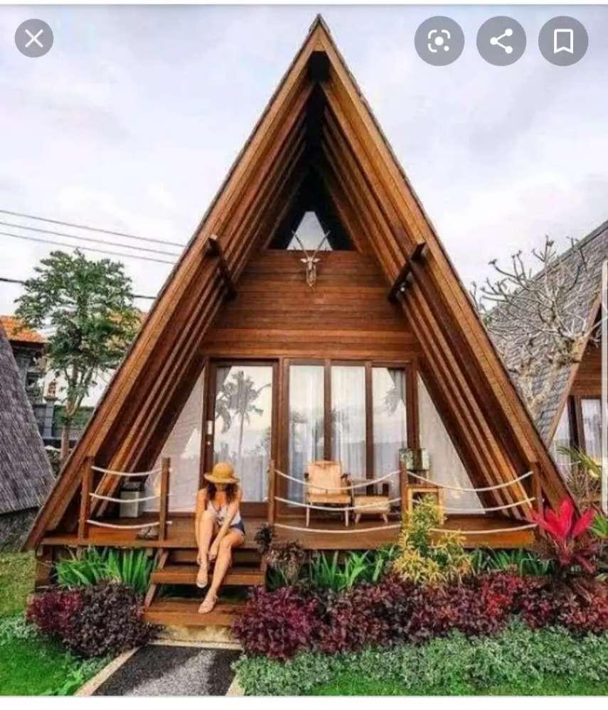 Rumah Unik Material Kayu Klapa Konstruksi Dan Taman 754684938