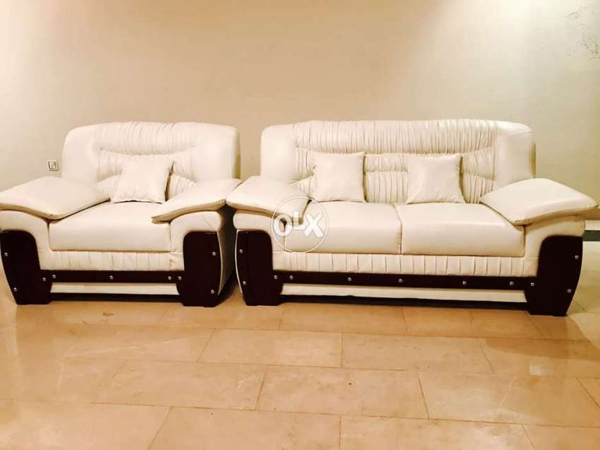 Home Used New Off White Leather Sofa 6 Seater