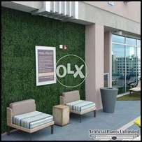 Wall decor, restaurants decor with artificial grass , synthetic grass
