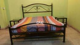Wrought iron Bed,spring mattress, 2 side tables,2 coffee chairs