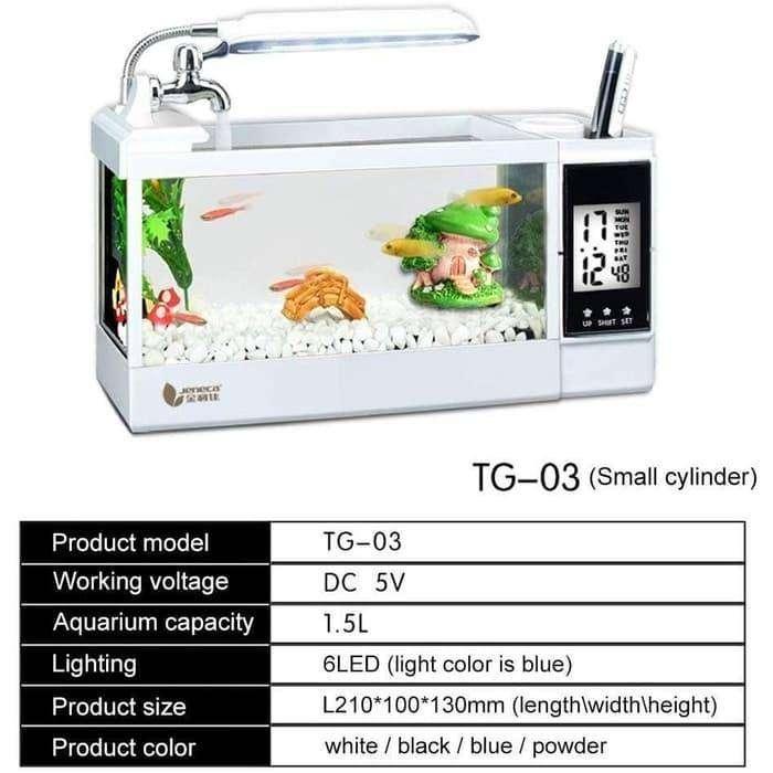 Akuarium Mini Usb Fish Tank Desktop Aquarium Ikan Maskoki Lain Lain 814404612