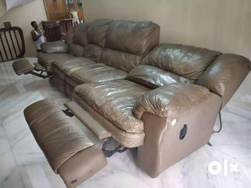 Imported Leather Reclining Sofa Set