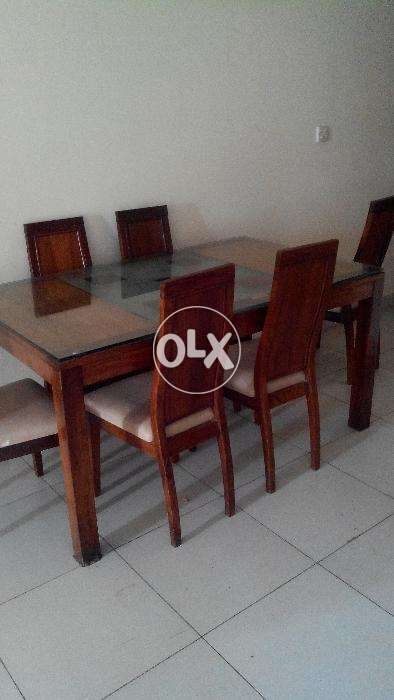 Glass Top 6 Chairs Dining Table Pure Sheesham Wood