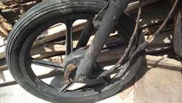Black 5-spoke Motorcycle Wheel With Tire
