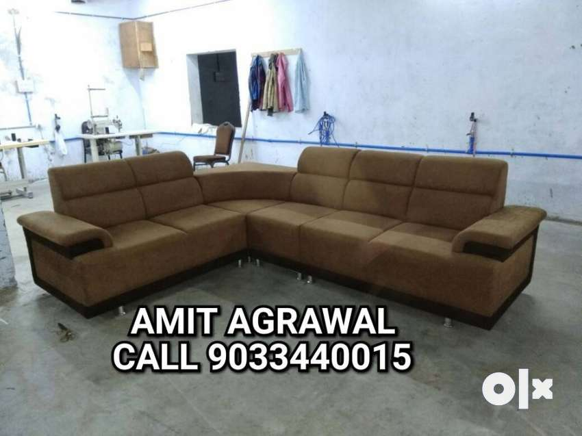 Brown Leather Sectional Sofa With 5