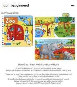 Mainan Anak-anak - Babyinneed Busy Zoo Slide Board Book