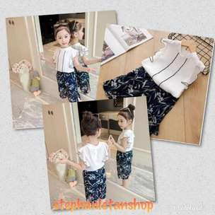 IC07-One Colour Kids Girls Sifone Blouse&Pant