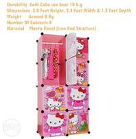 Hello-Kitty: Wardrobe with hanging 8 Cabinets
