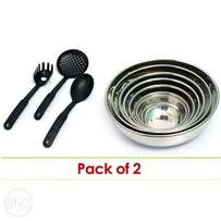 Combo of 2 Stainless Steel Bowls + Non-Stick Cooking Utensils