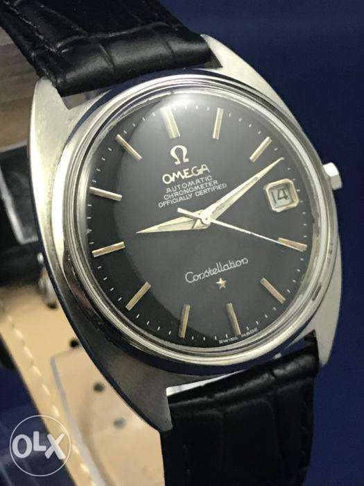 bea7d973351 ... 1960s Omega Constellation Automatic Watch Black Dial IWC Jaeger Rolex  ...