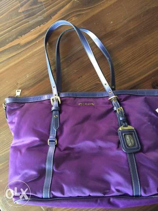 4b59dd80 Prada Purple Tessuto Nylon and Saffiano Leather Tote Bag in ...