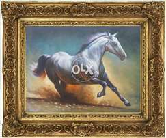 horse painting oil on canvass