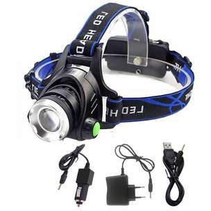 High Power Headlamp LED Cree XML L2 with Charger - 568D - Black