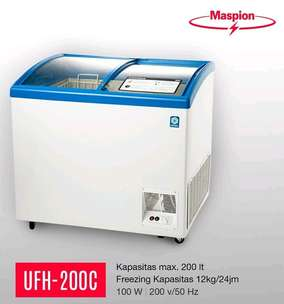 PROMO!! New Kulkas Freezer Kaca MASPION UCHIDA 200liter #New Low Watt