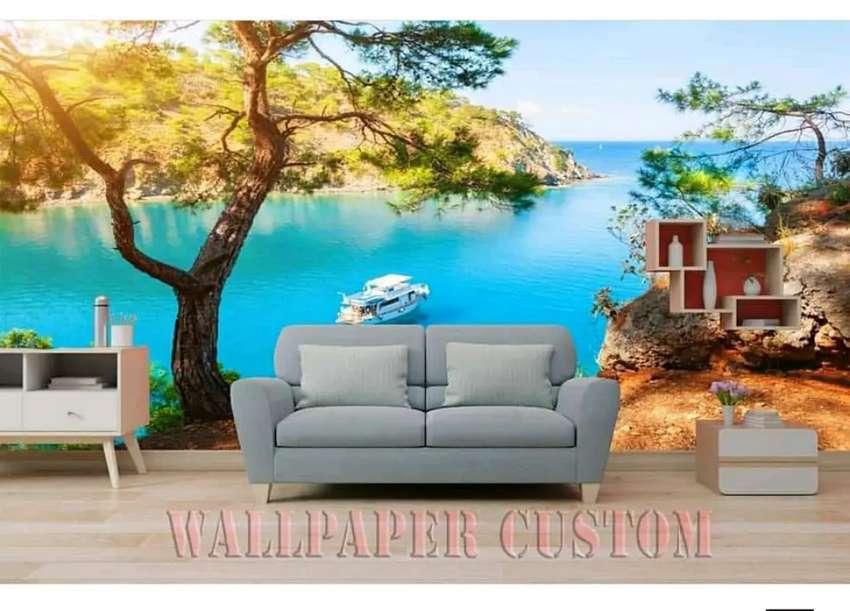 Wallpaper Custom Dinding Nuansa Pemandangan 3d Dekorasi