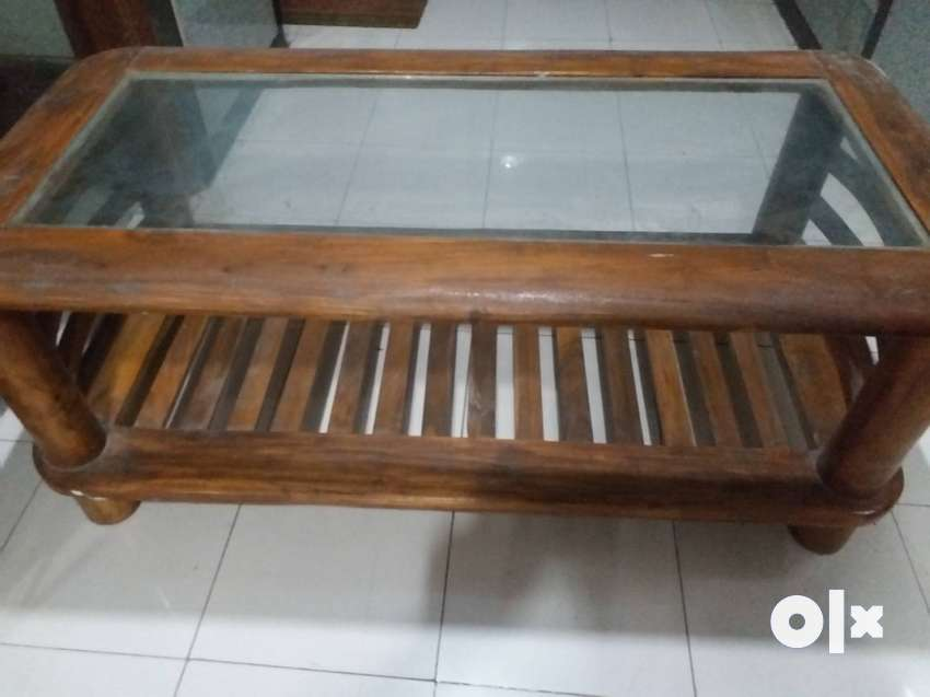 Teak Wood Center Table With Glass Top Glass Decorating Ideas