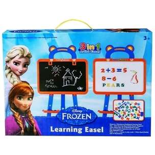Mainan Papan Tulis Magnetic 3 in 1 Frozen Learning Easel No.3688F