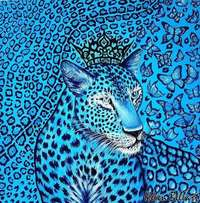 Blue Cheetah and butterfly's oil Painting Abstract