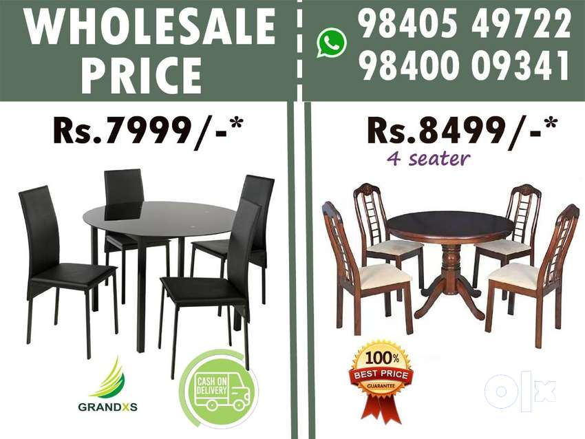 Dining table, Glass Dining Set ,Wooden Dining Table , 4 Chair #M6 - सोफा और  डाइनिंग - 1561809433