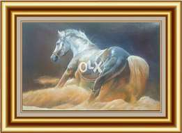 Action horse painting hand made