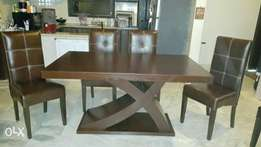 New modern wooden top dining table | six chairs full cushion