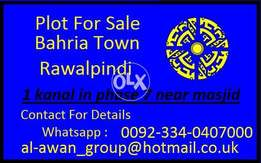 1 kanal plot for-sale in bahria town phase 7 rawalpindi prime location
