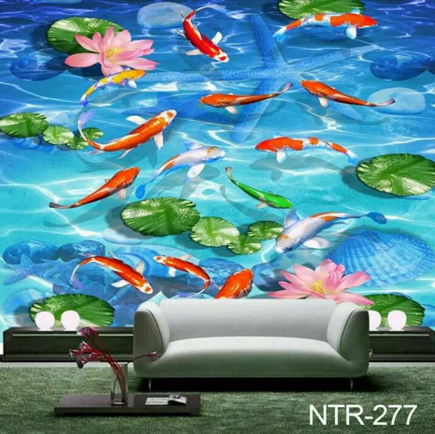 Wallpaper 3d Motif Ikan Dekorasi Rumah 750138641