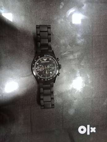 Round Black Chronograph Watch With Black Link Bracelet