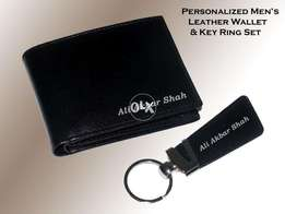 Black Leather Wallet Set with name print (free home delivery)