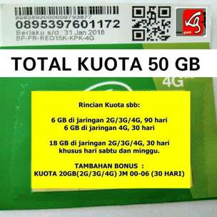 TRI 50GB Aktif 3 bulan (THREE) Cinta 6 C6 paket data internet perdana