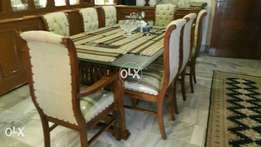 new pure shesham wood dining with eight chairs back cushion tufted.