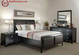 Silver style bed with side table