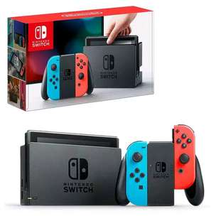 nintendo switch with neon red and blue joycon
