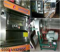 Pizza oven, frier, doh mixer, soft were, printing, recipes