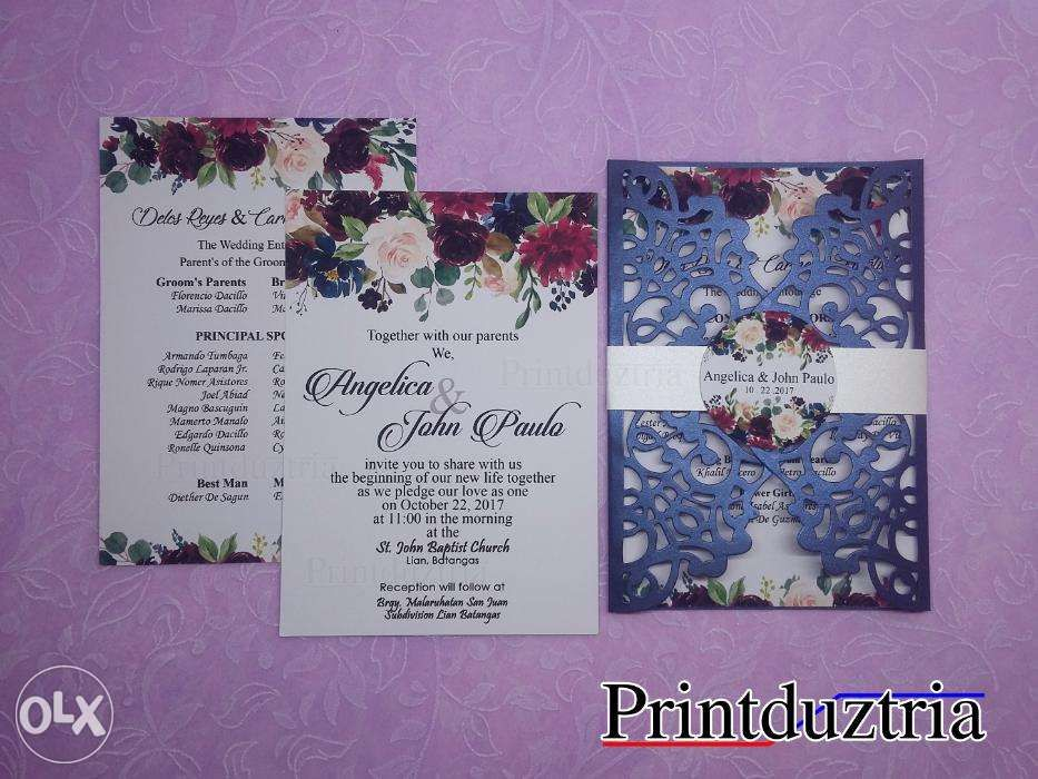 laser cut die cut wedding debut invitation in las piñas metro