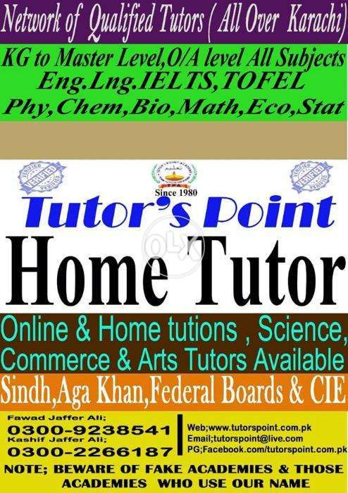 Home Tutor for O / A Level Pak Stud | Urdu | Islamiat | World