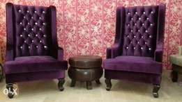 New high back chairs pair | in shaineel soft fabric