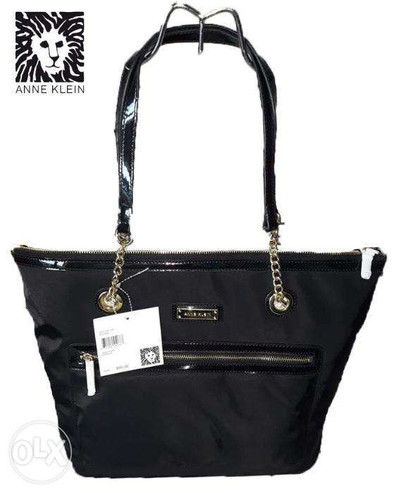 34068b564f0b SALE Bnwt Authentic Anne Klein Zipped Up Black Nylon Tote Bag in ...