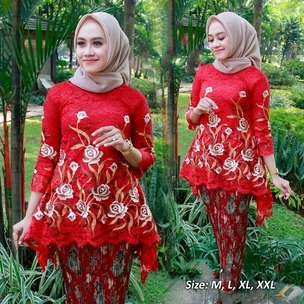 kebaya murah kondangan brokat red bordir stel