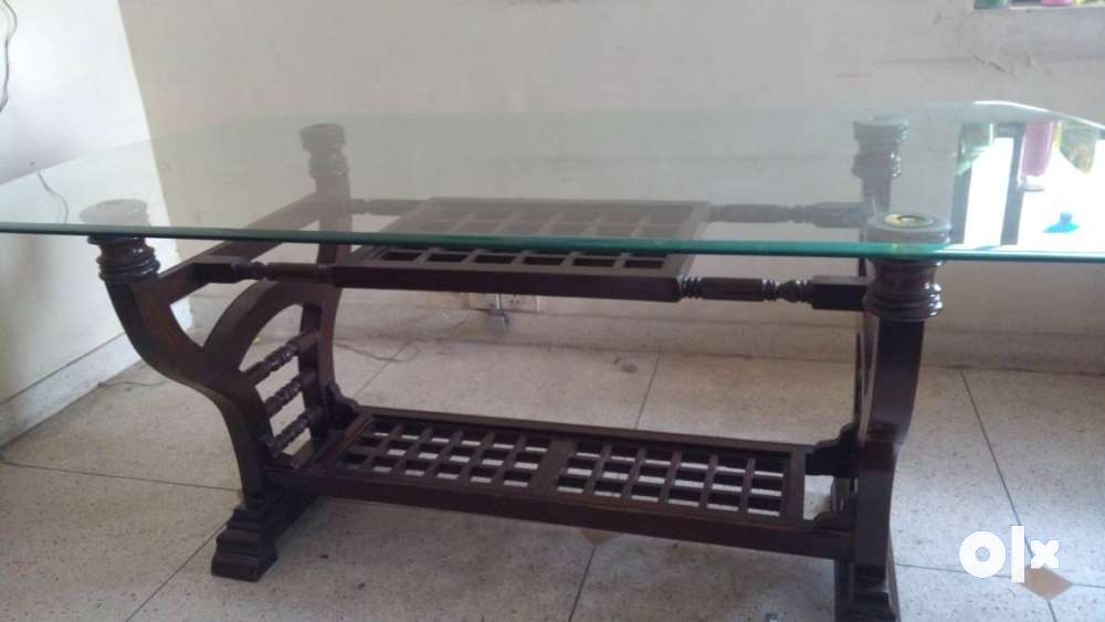 Clear Glass Top Brown wooden Base dining Table with six  : images1000x700inslot1filenamev6i7nwvtmpxo2 IN from www.olx.in size 1000 x 563 jpeg 36kB