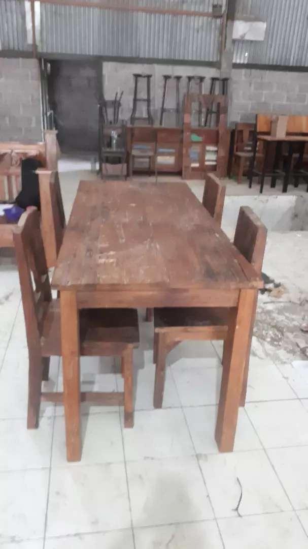 Set Meja Makan Kayu Jati Tua Rustic Mebel 763200001