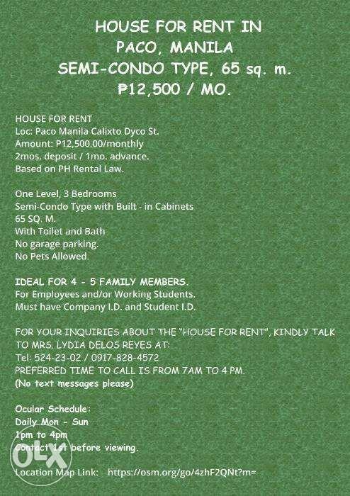 Apartment House For Rent In Paco Manila Semi Condo Type